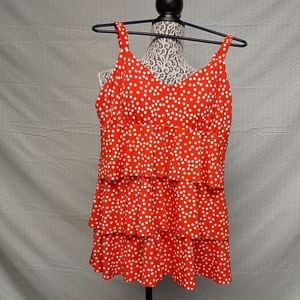Jaclyn Smith orange polka dot swimsuit